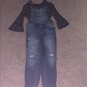 Abercrombie Kids Matching Set- Overalls and Shirt